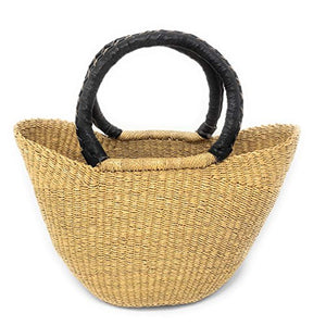 Swahili African Modern Bolga Handwoven Petite Wing Shopper Tote with Black Leather Handles - Ufumbuzi - Home