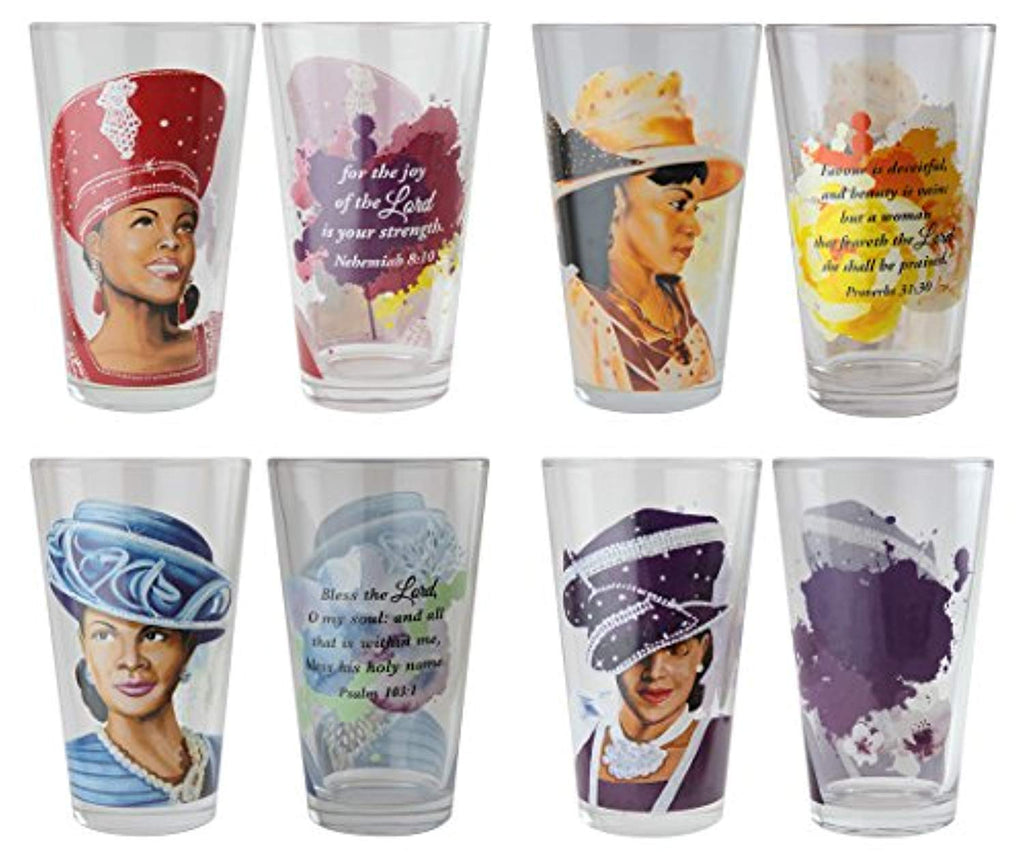 "African American Expressions - Sunday Morning, Ladies with Hats, Drinking Glass Set (17 oz. glass, 5.75"" x 3.5"") DGL-02 - Ufumbuzi - Home"