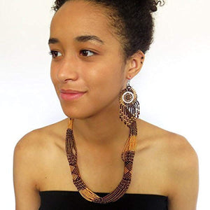African Zulu beaded short necklace – Gold/bronze/brown - Gift for her