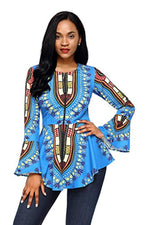 HOTAPEI Women African Printed Slim Fit Long Sleeve Clubwear Party Shirt Blouse Top