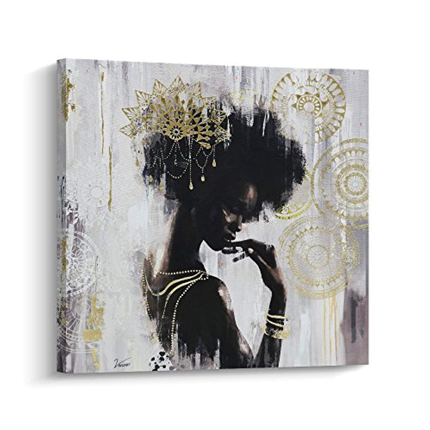 Pi Art African American Wall Decor Canvas Wall Art Gold Black Art On Canvas Stretched And Framed Wall Art For Living Room 80x80cm A