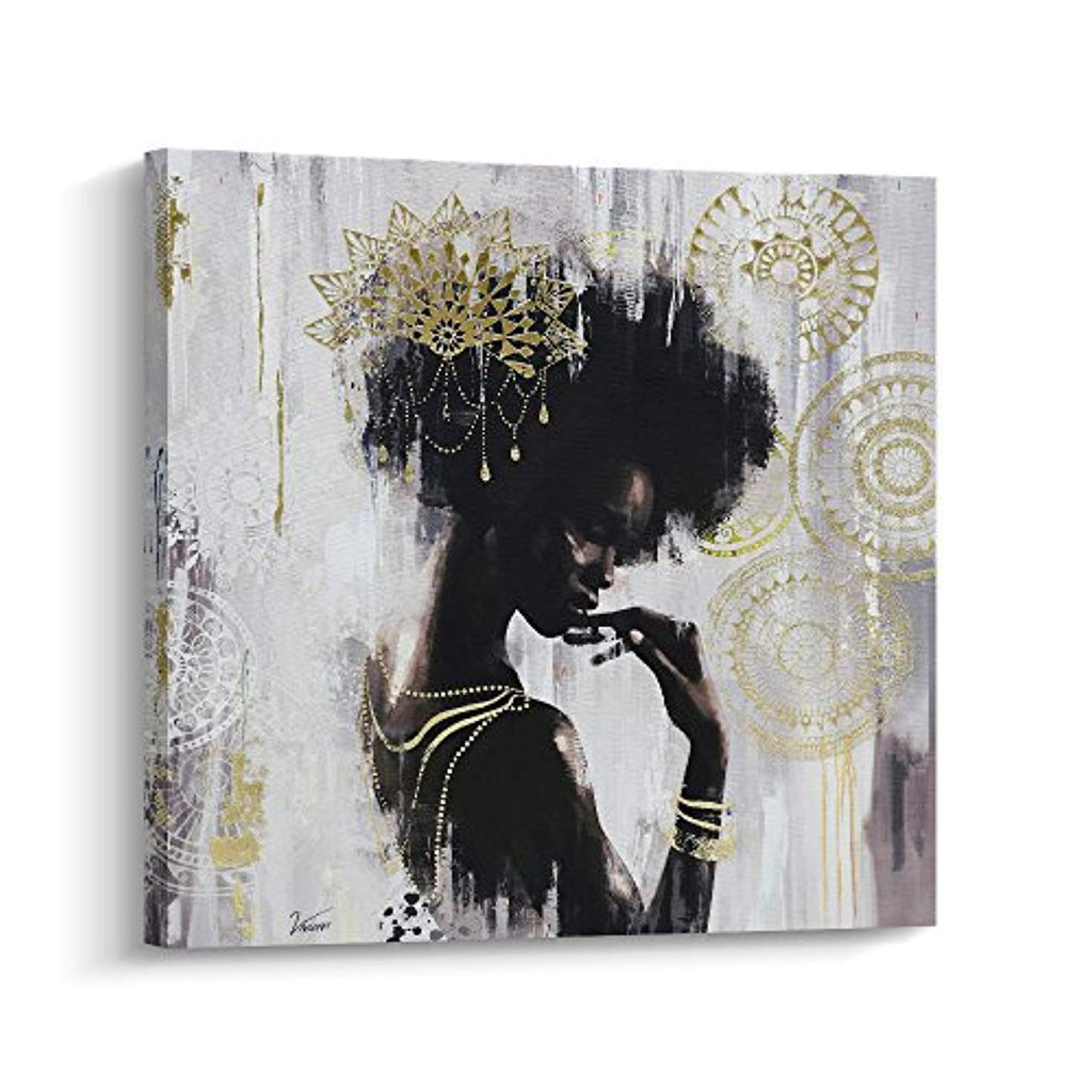 Pi Art African American Wall Decor Canvas Wall Art, Gold Black Art on Canvas, Stretched and Framed Wall Art for Living Room (80x80cm, A) -