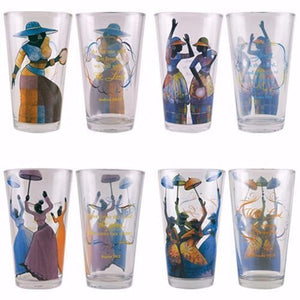 "African American Expressions - Total Praise Drinking Glass Set (17 oz. glass, 5.75"" x 3.5"") DGL-03"
