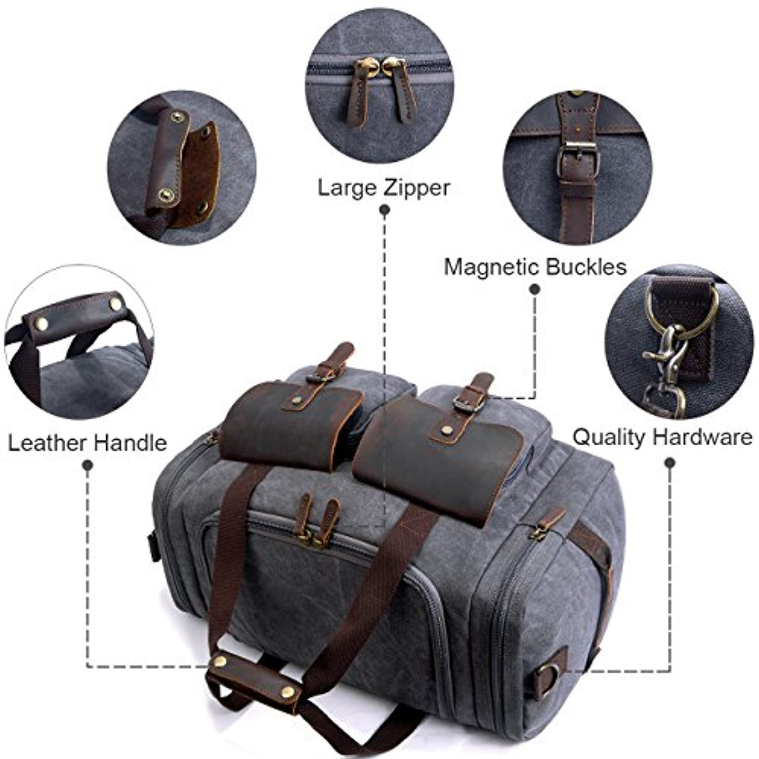 1127fa18bf3d SUVOM Leather Canvas Duffle Bag Weekend Overnight Bag Travel Tote Duffel  Luggage