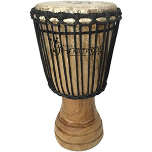 Hand-carved African Djembe Drum - Solid Wood, Goat Skin - Made in Ghana - 8x16 - Ufumbuzi - Home