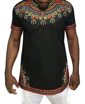 Makkrom Mens African Tribal Dashiki Floral Short Sleeve T Shirt Blouse Tops - Ufumbuzi - Home