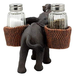 "Ebros Savanna Calls Trumpeting Elephant Glass Salt And Pepper Shakers Holder Figurine Decor Set 5.75""L - Ufumbuzi - Home"