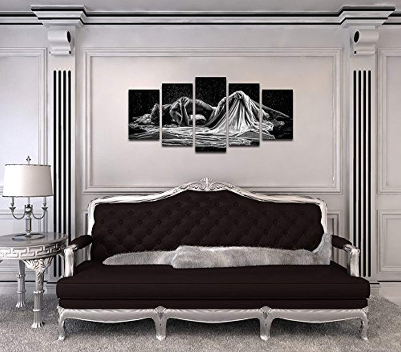 Sea Charm- Sexy Woman Canvas Wall Art Black and White Portrait Photo Naked Girl in Rain Canvas Prints,Modern Bedroom Hotel Wall Decoration Artwork Framed Ready to Hang - Ufumbuzi - Home