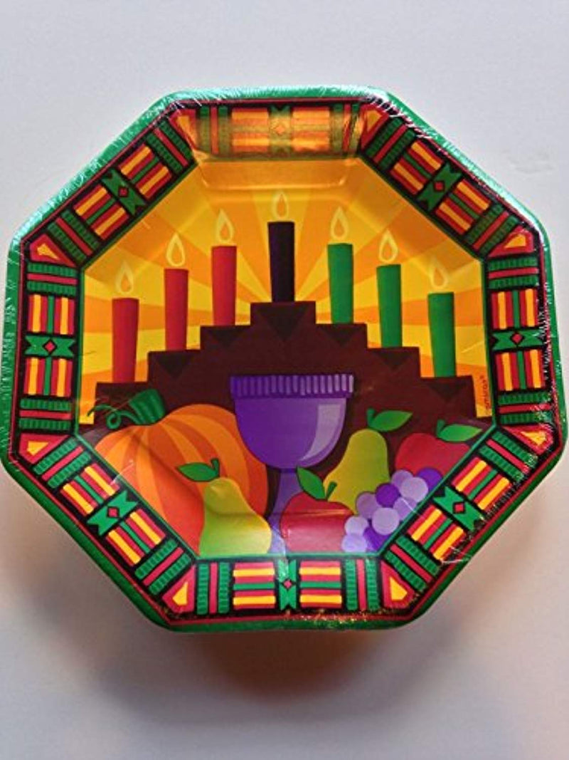 "Amscan Festive Kwanzaa Celebration Octagonal Dessert Plates (Pack Of 8), Multicolor, 7"" - Ufumbuzi - Home"