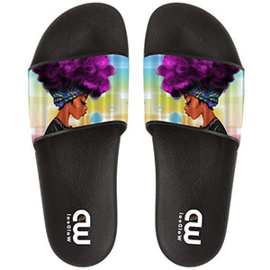Cute African Ethnic Women With Purple Hair Summer Slide Slipper For Women Indoor Outdoor Sandal Shoes - Ufumbuzi - Home