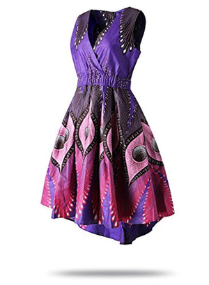 FANS FACE Women's African Print V Neck Sleeveless Traditional Clothing Casual Party Dress