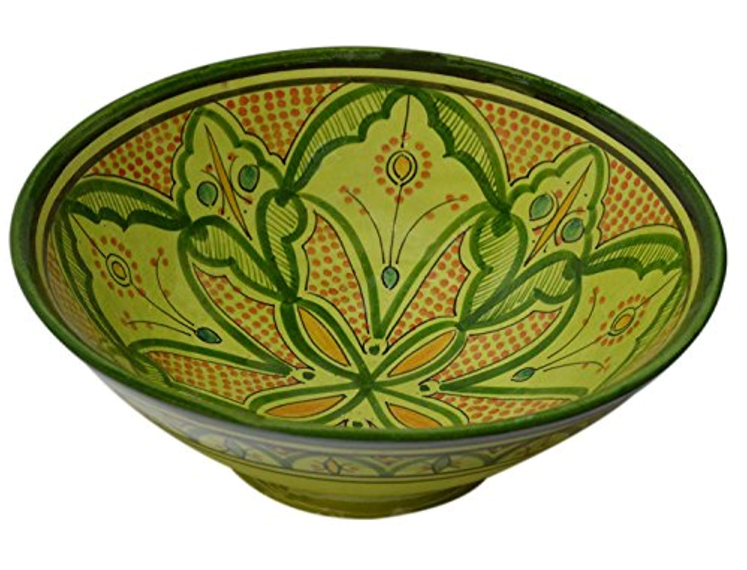 Ceramic Bowls Moroccan Handmade Serving Bowl Green Large 12 Inches Across - Ufumbuzi - Home
