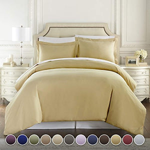 HC COLLECTION Hotel Luxury 3pc Duvet Cover Set-1500 Thread Count Egyptian Quality Ultra Silky Soft Premium Bedding Collection-King Size Camel - Ufumbuzi - Home
