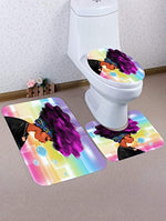 A.Monamour Traditional African Black Women With Purple Afro Hair Print Soft Flannel Cloth Washable Toilet Seat Covers Toilet Lid Covers Cushions Pads Skidproof Bath Mat Rug for Toilet Accessories - Ufumbuzi - Home
