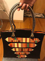 African Kente Multi Coloured Fabric Handbag/With Braided Loop Handle
