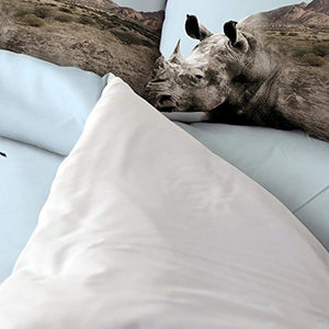 EZON-CH Duvet Cover Set African Rhinoceros Savanna Print 100% Brushed Cotton Soft 4 Piece Duvet Cover Set Duvet Cover Flat sheet Pillow Cases Bed Sheet Set(Full) - Ufumbuzi - Home