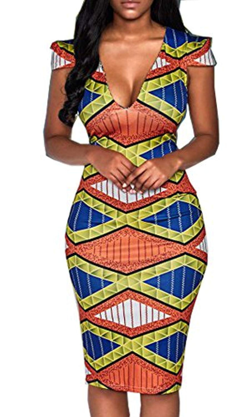Hang Zhou Tui Zhen LTD YOMISOY Women Short Sleeve V Neck Bodycon African Print Party Dashiki Dress Clothing - Ufumbuzi - Home