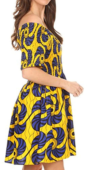 Sakkas IFE Wax African Ankara Colorful Cocktail Short Dress Off-Shoulder w/Pockets - Ufumbuzi - Home