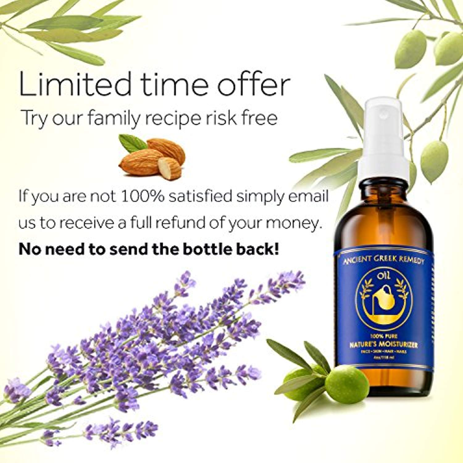 100% Organic Blend of Olive, Lavender, Almond and Grapeseed oils with Vitamin E. Daily Moisturizer for Skin, Hair, Face, Cuticle, Nail, Scalp, Foot. Pure Cold Pressed, Full Body oil for Men and Women - Ufumbuzi - Home