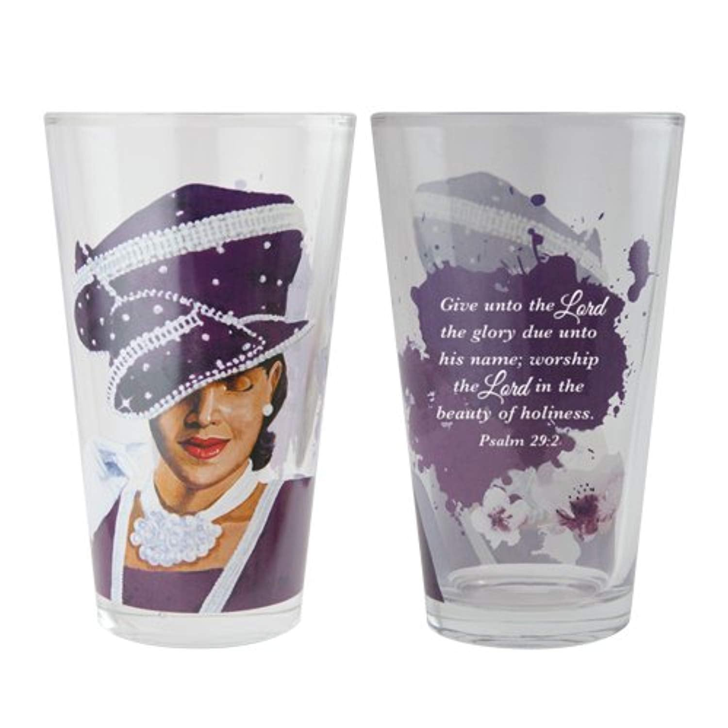 "African American Expressions - Sunday Morning, Ladies with Hats, Drinking Glass Set (17 oz. glass, 5.75"" x 3.5"") DGL-02"