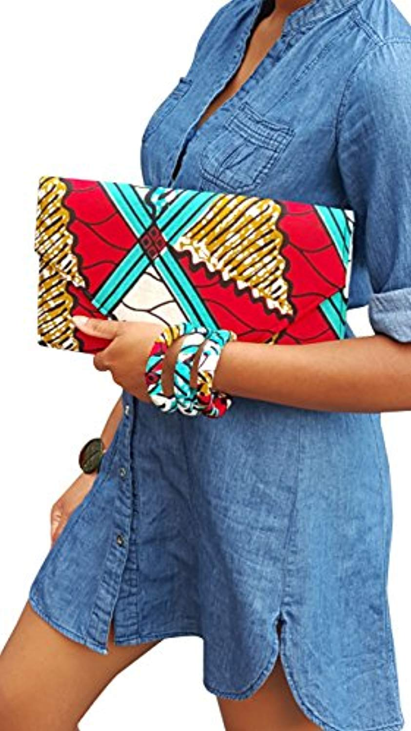 Red, Turquoise, white African Print Clutch Purse - Ufumbuzi - Home