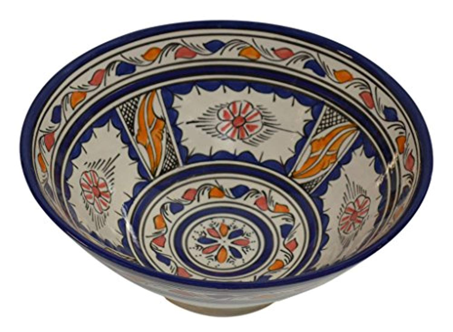 Ceramic Bowls Moroccan Handmade Serving Exquisite Piece With Vivid Colors 12 inches Across - Ufumbuzi - Home
