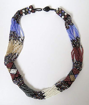 African Zulu beaded short necklace – Purple/white/gunmetal - Gift for her - Ufumbuzi - Home