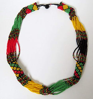 African Zulu beaded short necklace – Rasta colours - Gift for her