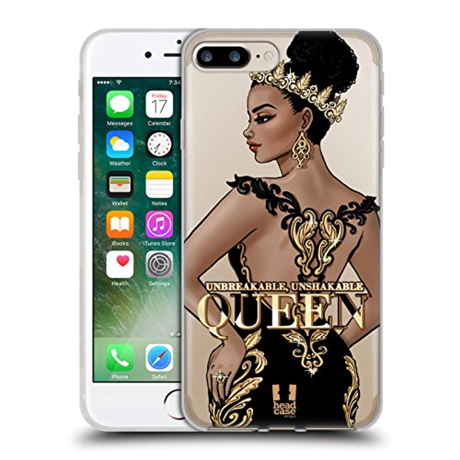 Head Case Designs Unbreakable Woman Gold Queens Soft Gel Case for Apple iPhone 7 Plus/iPhone 8 Plus - Ufumbuzi - Home