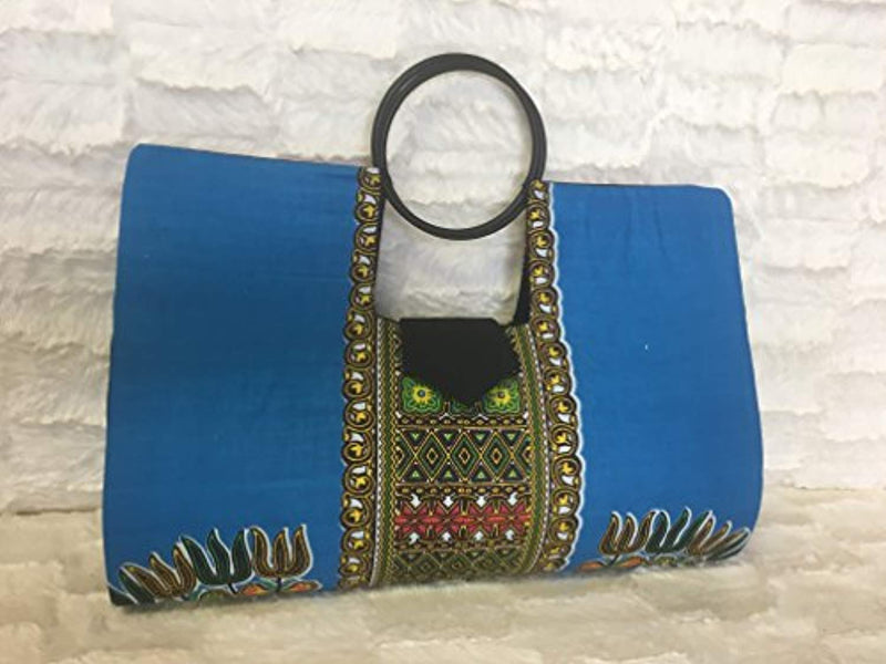 Large Pink & Blue Hard Body African Dashiki Handbag - Ufumbuzi - Home