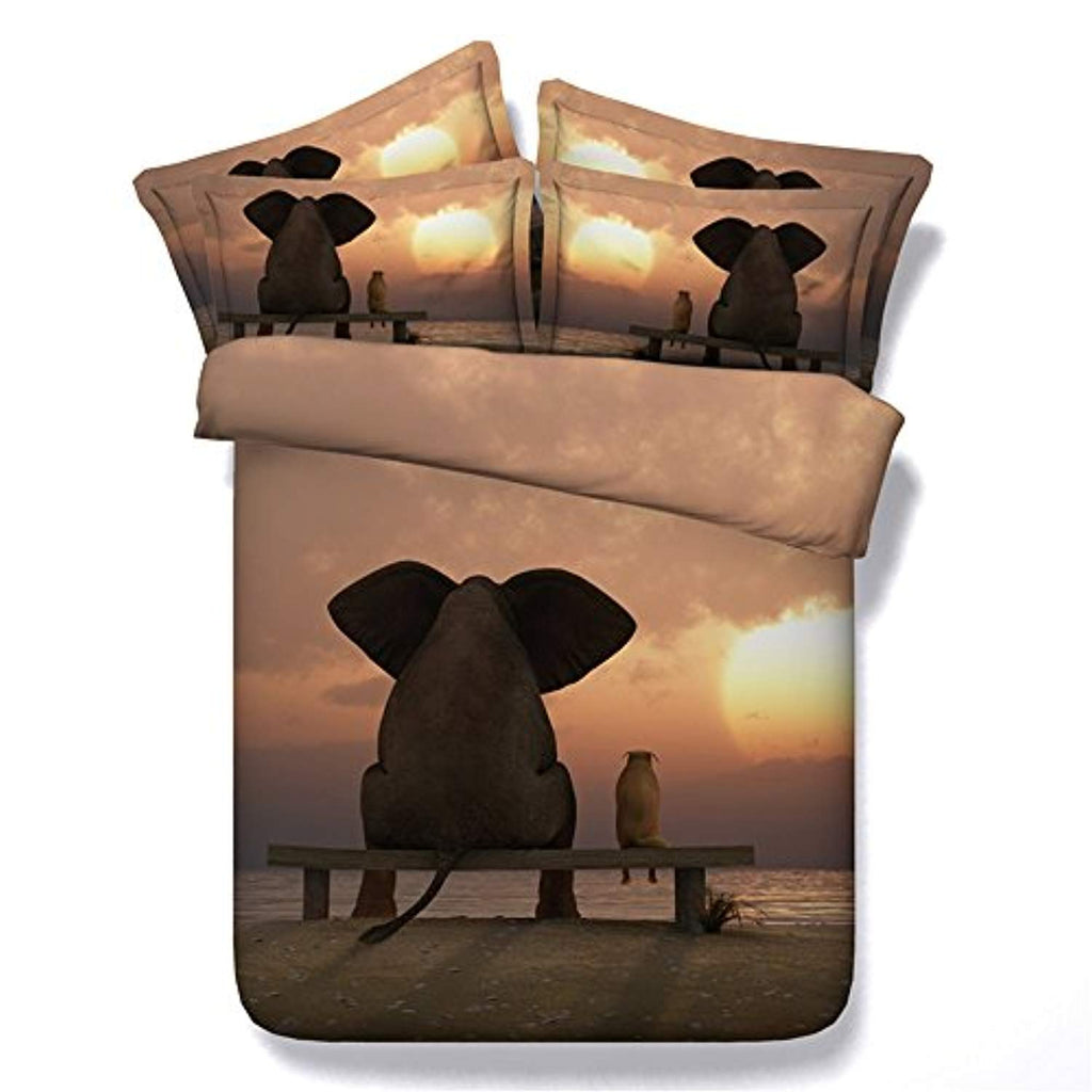 3D Elephant Duvet Cover Kids Bedding African Quilt Elephant Bed Set for Teen Boys Elephant Pattern Duvet Cover Sheet,Full Size (4PC/Set) - Ufumbuzi - Home