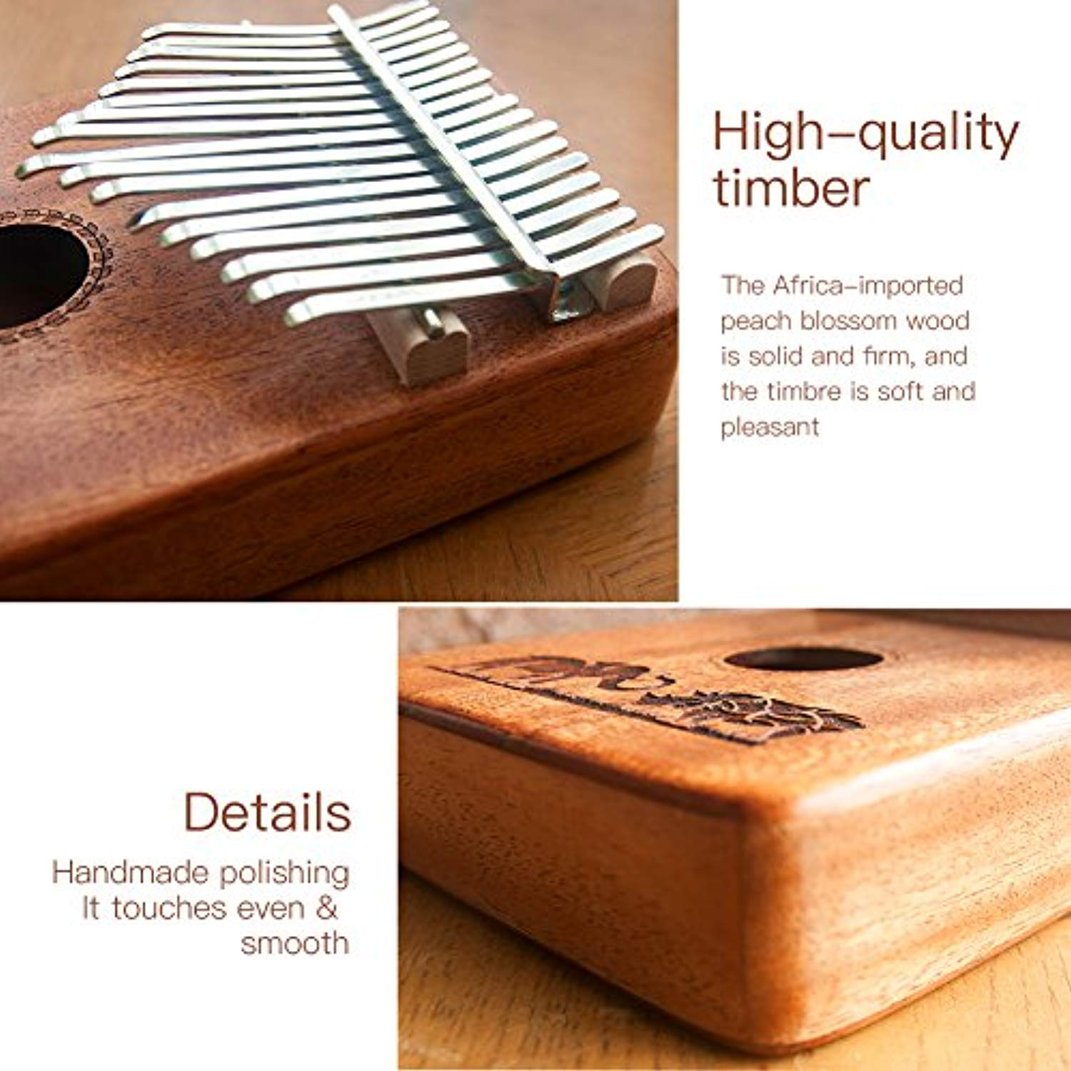 Kalimba 17 Key Thumb Piano, Finger Piano / Mbira 17 Tone Musical Toys with Tune-Hammer and Study Guide for Music Lovers Beginners and Child - Ufumbuzi - Home