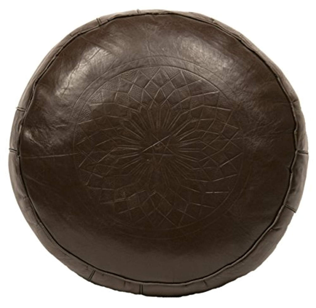 Casablanca Market Moroccan Solid Cotton Stuffed Leather Pouf/Ottoman, Brown - Ufumbuzi - Home