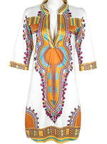 LAKAYA Women Traditional White African Tribal Patterns Dashiki Bodycon Stretch Dress - Ufumbuzi - Home