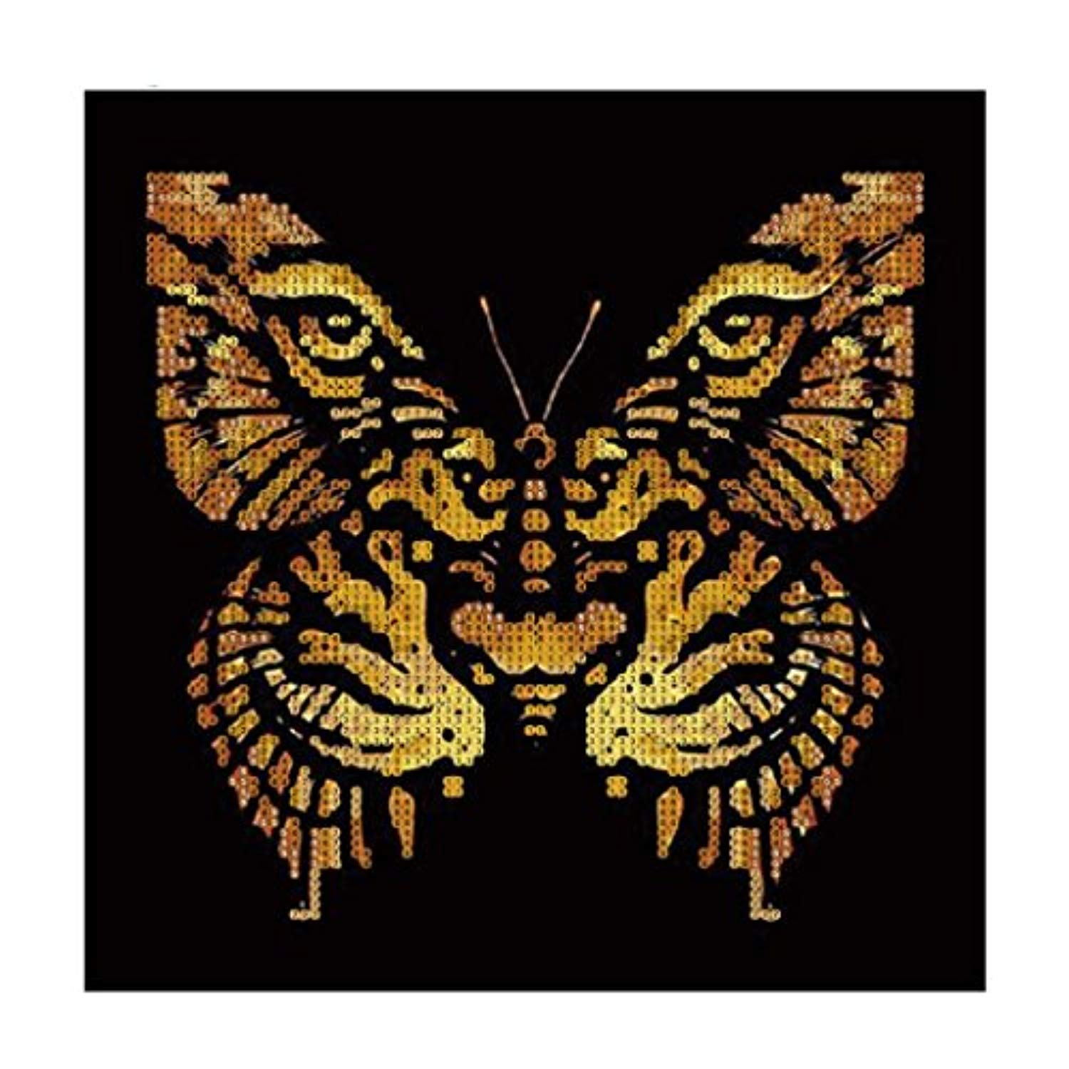 5D Diamond Painting by Number Kit,YOYORI Tiger and Butterfly Pattern Animals Rhinestone Embroidery Pasted Diy Painting Cross Stitch Kit Drill Arts Craft Wall Sticker (Butterfly Girl and Tiger) (black)