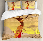 "Gorgeous African Women Dancing Cotton Microfiber 3pc 90""x90"" Bedding Quilt Duvet Cover Sets 2 Pillow Cases Queen Size - Ufumbuzi - Home"