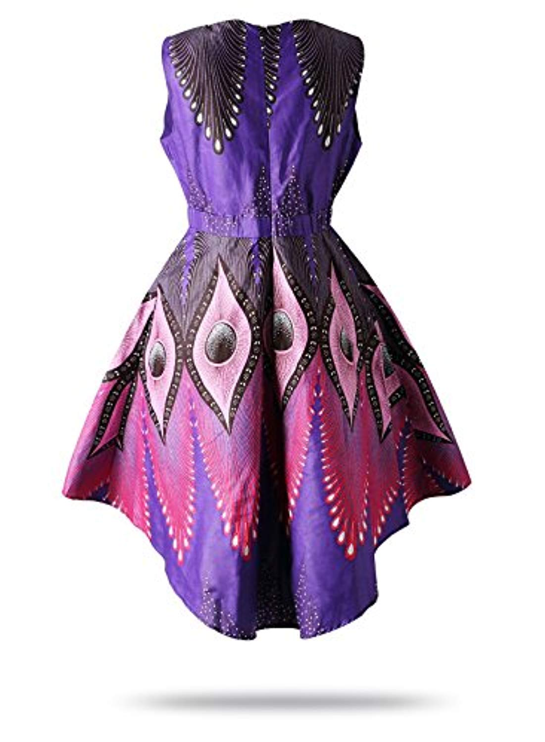 FANS FACE Women's African Print V Neck Sleeveless Traditional Clothing Casual Party Dress - Ufumbuzi - Home