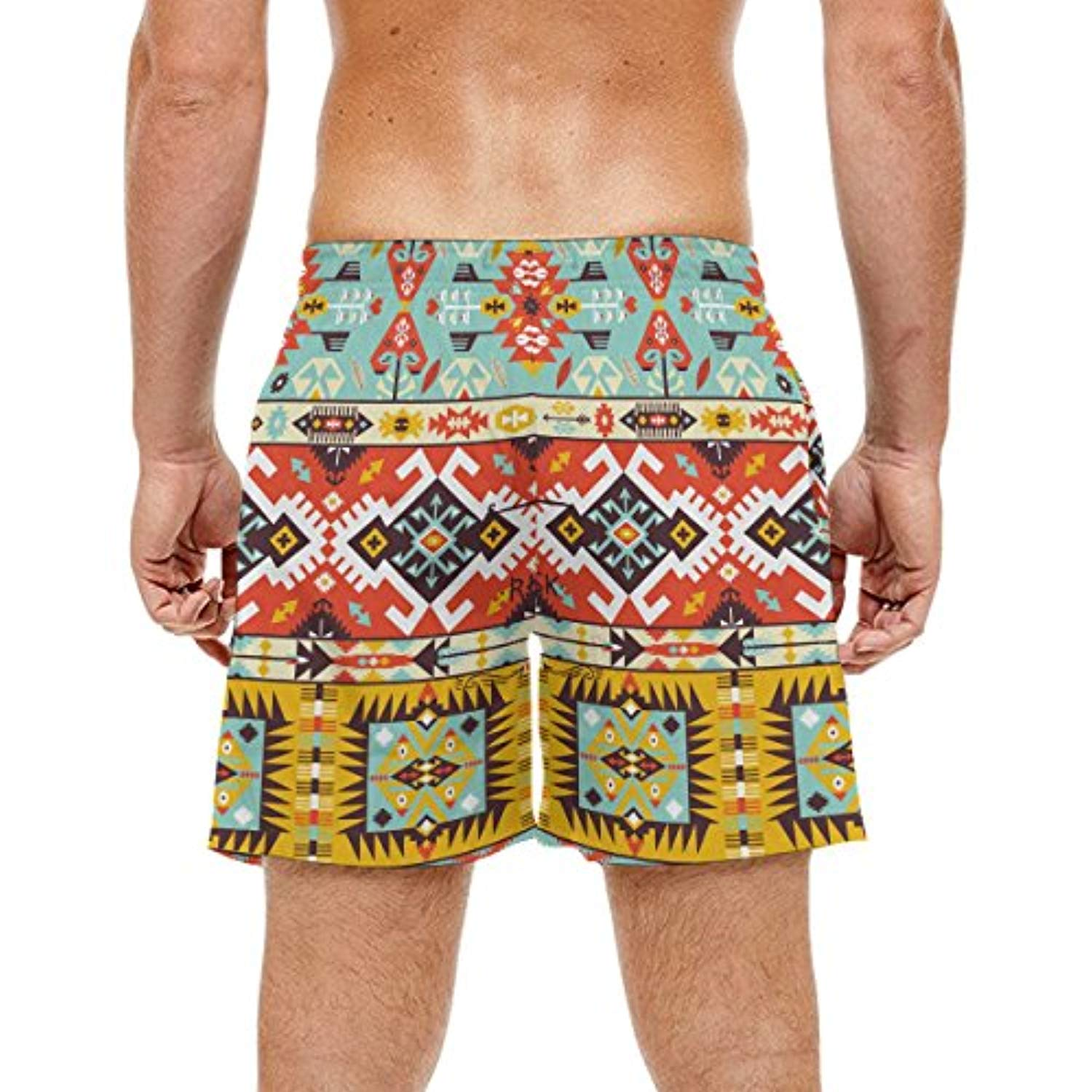 African Art Tribal Print Men's Swim Trunks Water Beach Shorts with Pockets