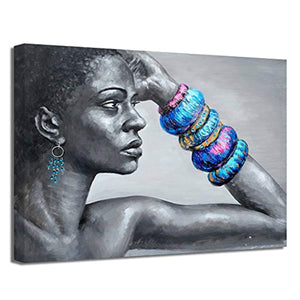 African American Wall Art Black Art Abstract Nude Black Women Portrait Painting on Canvas Print Wall Decor Picture for Livingroom (36 x 48 inch, B Framed)