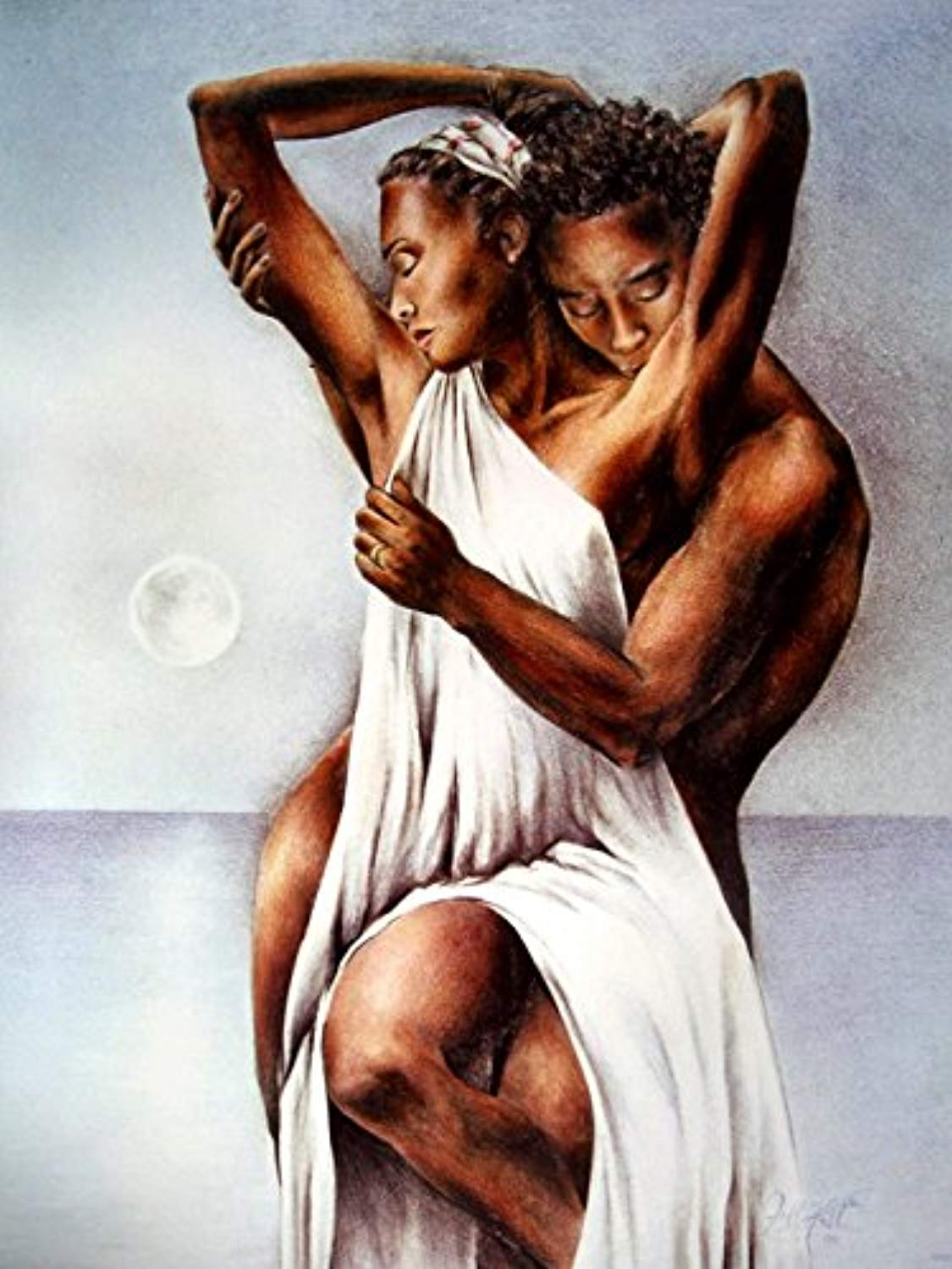 African American Love Hot Painting Art 32x24 Print Poster - Ufumbuzi - Home
