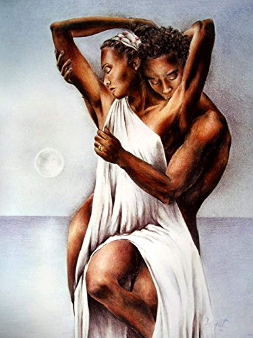 African American Love Hot Painting Art 32x24 Print Poster