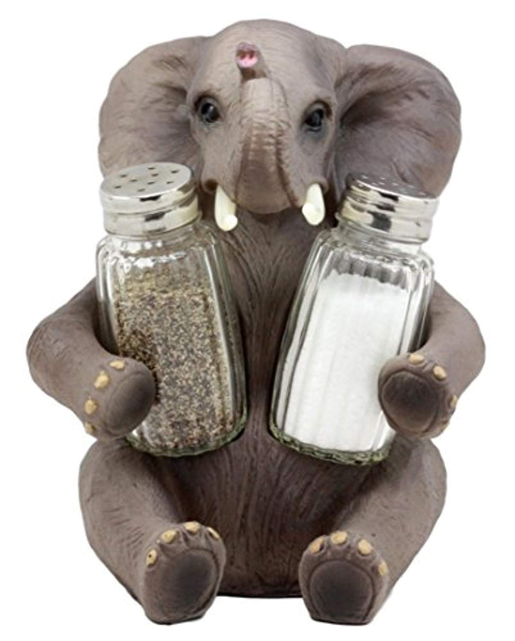 "Ebros Gift African Bush Elephant Glass Salt & Pepper Shakers Holder Figurine Decor 7""H"