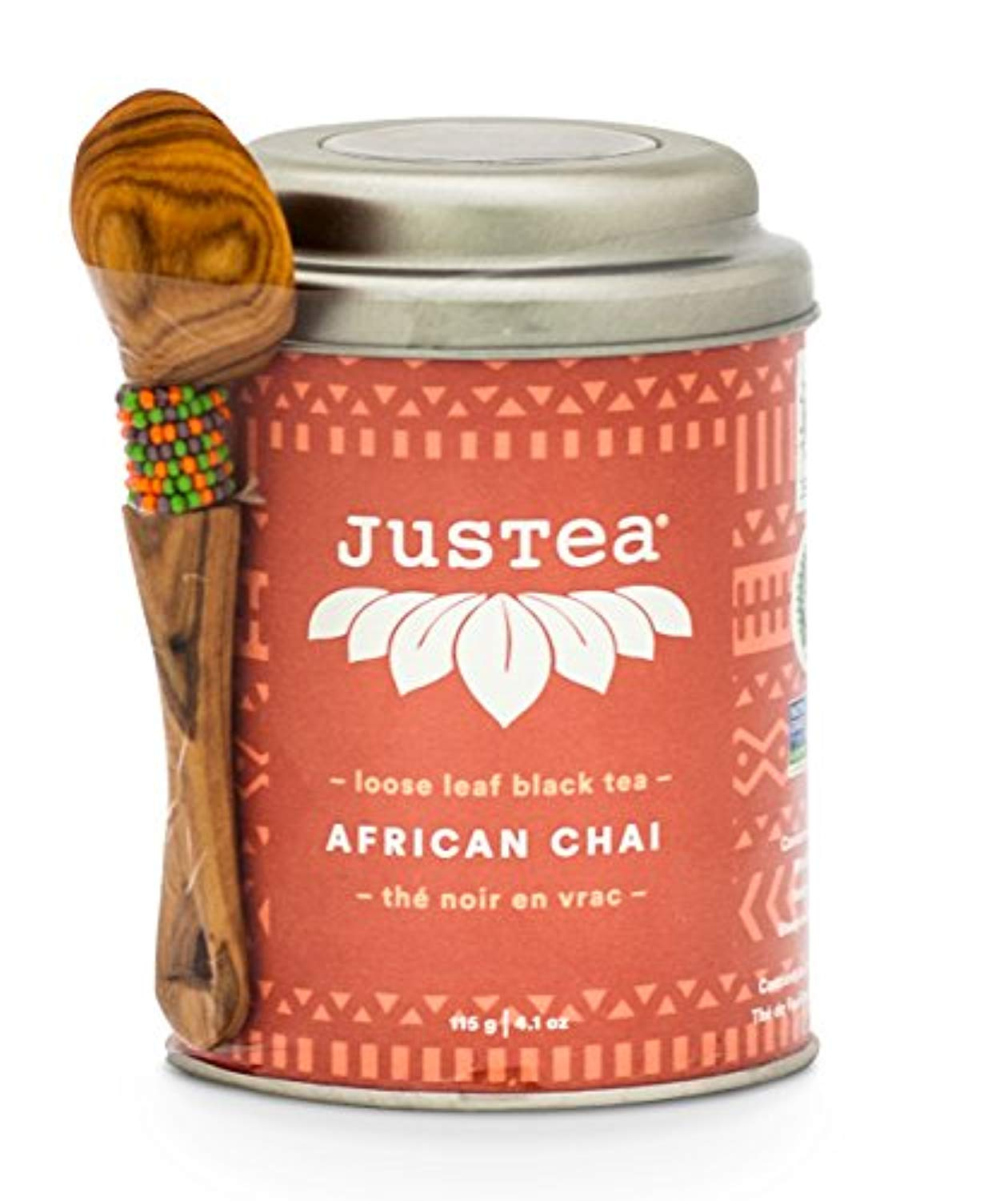 JusTea AFRICAN CHAI | Loose Leaf Black Tea with Hand Carved Tea Spoon | 40+ cups 4.1 Ounce Tin | Organic | Fair Trade | Non-GMO - Ufumbuzi - Home