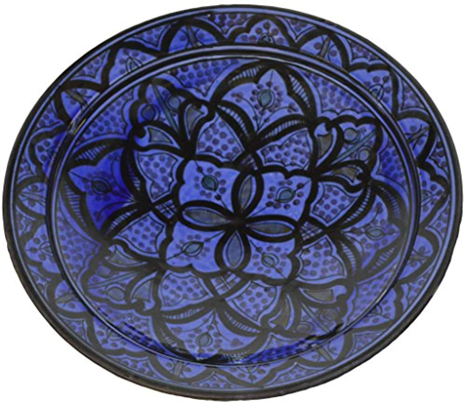 Ceramic Plates Moroccan Safi Serving Plate Large 12 Inches Round - Ufumbuzi - Home
