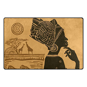 Yochoice Non-slip Area Rugs Home Decor, Vintage Retro African Black Woman Floor Mat Living Room Bedroom Carpets Doormats 60 x 39 inches - Ufumbuzi - Home