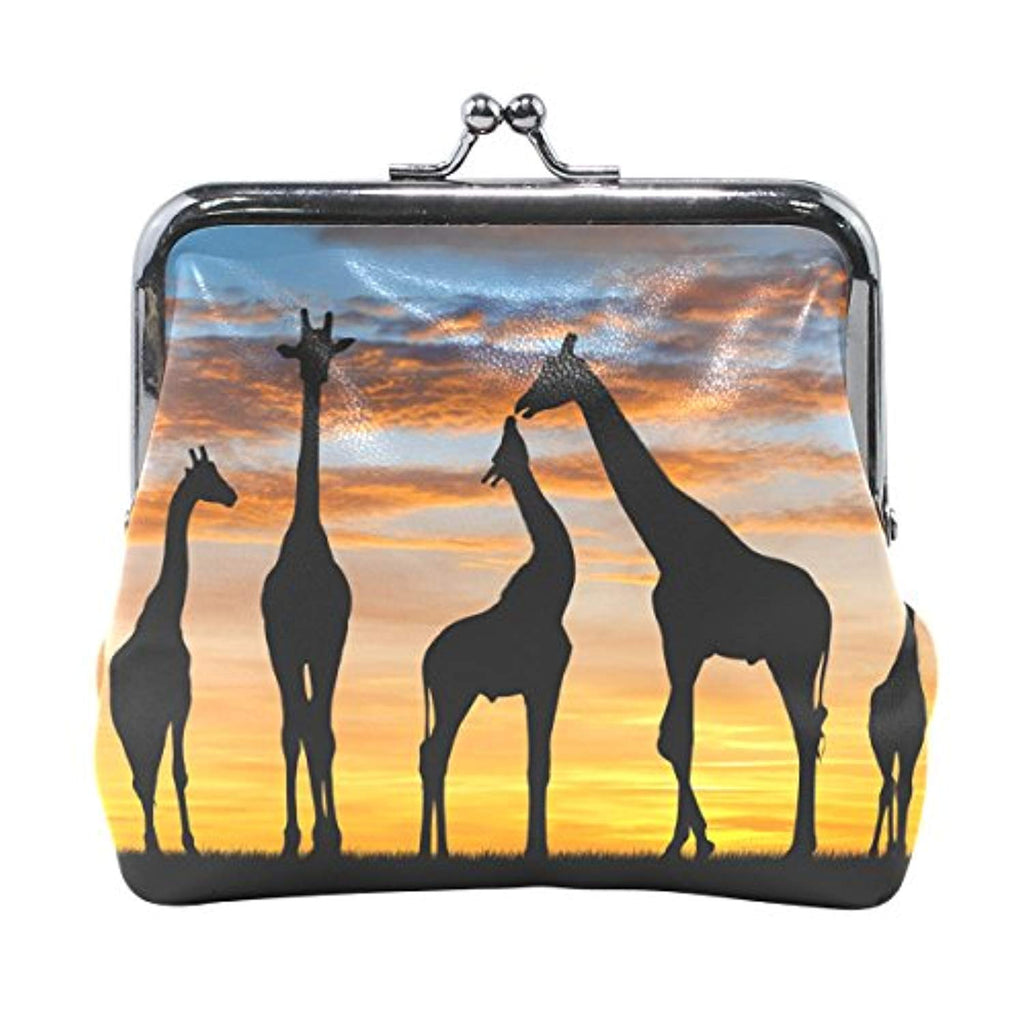 DEYYA Women's PU Leather African Animal Giraffe Sunset Coin Purse Mini Clutch Pouch Wallet - Ufumbuzi - Home