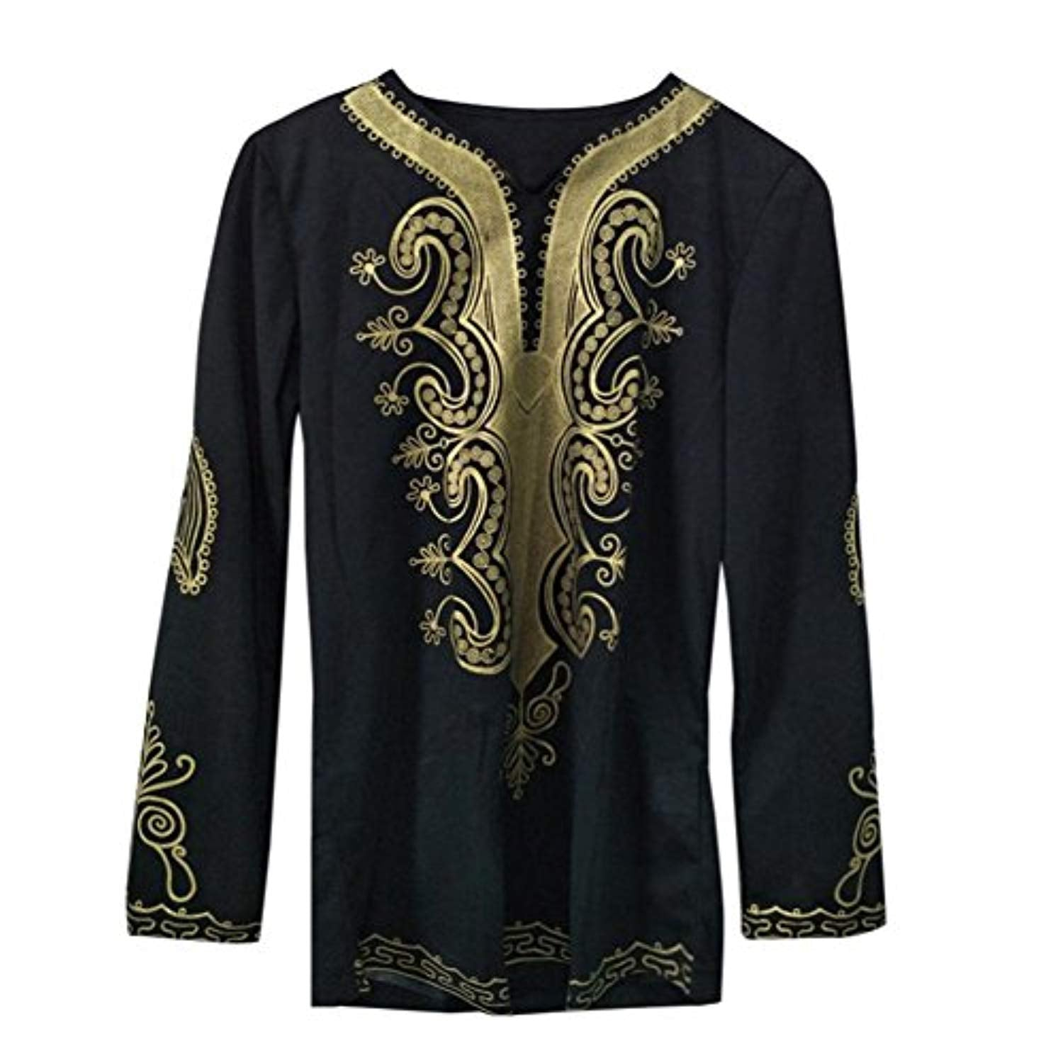 G&Kshop Mens Shirt, Long Sleeve African Print Comfort Soft Casual T-Shirt Top Blouse - Ufumbuzi - Home