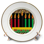 3dRose cp_26966_1 Candles of Kwanzaa Porcelain Plate, 8-Inch