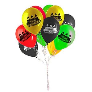 Kwanzaa Decoration Balloons - Multi-Color (Red, Green, Black, Yellow) - 40 Latex Balloons - with Fun Festive Print - Celebrate African Heritage - Ufumbuzi - Home