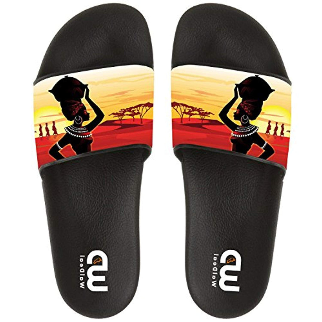 Sunset African Ethnic Women Art Summer Slide Slippers For Men Women Outdoor Indoor Soft Sandal Shoes